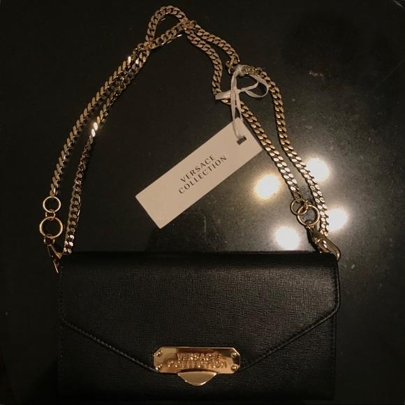 d2c7dd380160 Versace Collection Crossbody small saffiano purse.  M 5b73302cf414521de44e1307